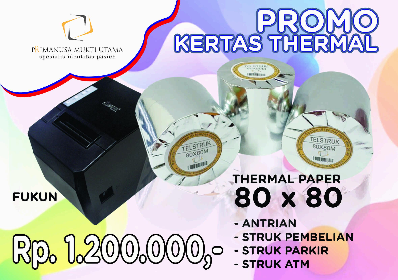 kertas struk thermal 80x80 dan printer kasir merk fukun