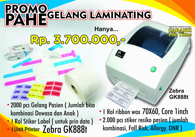 gelang pasien laminasi dengan printer zebra gk888t