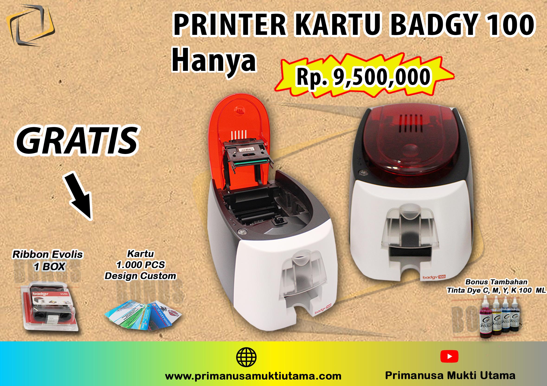 printer kartu badgy 100 bonus kartu pvc 1000 pcs & ribbon evolis